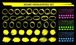 Hand Draw Highlight Marker Circle Frame Vector Set Stock Images