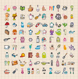 Hand draw home stuff set stock illustration