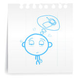 Human working tired cartoon_on paper Note Stock Photo