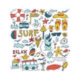 Hand draw icon set surfing collection and summer holiday for your design. Tourism and vacation theme. Hand draw icon set surfing collection and summer holiday Royalty Free Stock Photos