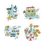 Hand draw icon set surfing collection and summer holiday for your design. Tourism and vacation theme. Hand draw icon set surfing collection and summer holiday Stock Photos