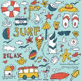 Hand draw icon set surfing collection and summer holiday for your design. Tourism and vacation theme. Hand draw icon set surfing collection and summer holiday Royalty Free Stock Images