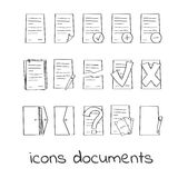 Hand draw icons of documents and contracts. Collection of Linear Marks of Securities. For web and app design Stock Image