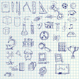 Hand draw icons. Illustration of hand draw set of school symbol icons on paper Stock Images