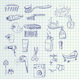 Hand draw icons. Illustration of hand draw toilet set icons on paper royalty free illustration