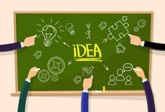 Hand Draw Idea Concept Chalk on Green Board Light Royalty Free Stock Photos