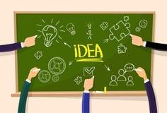Hand Draw Idea Concept Chalk on Green Board Light Royalty Free Stock Photos