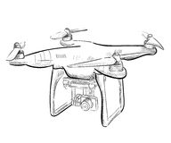 Hand draw  illustration aerial vehicle quadrocopter. Air drone hovering. Drone sketch Royalty Free Stock Photography