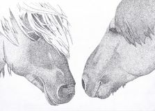 Hand draw illustration of two horses with the technique of pointillism stock photos