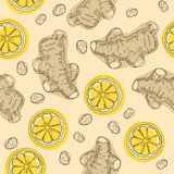 Hand draw ingredient for warming tea. Whole and sliced ginger roots with lemon. Seamless pattern. Hand draw ingredient for warming tea. Whole and sliced ginger stock illustration