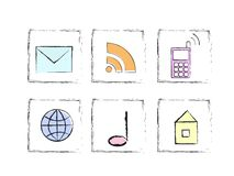 Hand draw internet icon set Royalty Free Stock Images