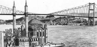 Hand draw Istanbul. Hand drawing Istanbul bridge Turkey Stock Image
