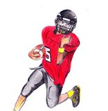 Hand draw kid american football. Hand draw colored pencils american football Royalty Free Stock Images