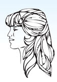 Hand draw lady portrait Royalty Free Stock Photos