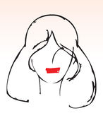 Hand draw lady red lips. Hand drawn illustration of a female face with red lips Royalty Free Stock Photo