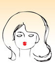 Hand draw lady red lips. Hand drawn illustration of a female face with red lips Stock Photography