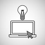 Hand draw laptop creativity social network media Royalty Free Stock Images