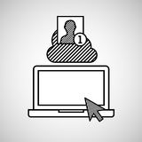 Hand draw laptop profile cloud social network media Royalty Free Stock Photography