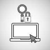 Hand draw laptop security search social network media Royalty Free Stock Images
