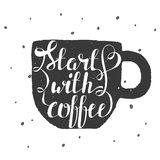 Hand draw lettering illustration with coffee beans and watercolor cup Royalty Free Stock Photo