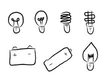 Hand draw of light bulb line icon set. royalty free illustration