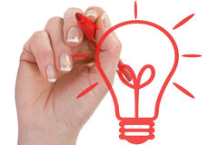Hand draw light bulb on white background Stock Photography