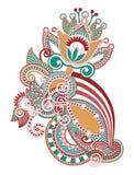 Hand draw line art ornate flower design Royalty Free Stock Image