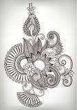 Hand draw line art ornate flower design. Ukrainian Royalty Free Stock Image
