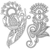 Hand draw line art ornate flower design. Ukrainian Stock Photos