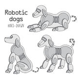 Hand-draw line dog robot.  Royalty Free Stock Images