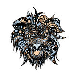Hand draw lion head zentangle patterns painted in Stock Photography