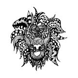 Hand draw lion head zentangle patterns painted in Royalty Free Stock Photos