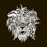 Hand draw lion head zentangle patterns painted in Stock Image