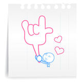 Love you cartoon_on paper Note. Hand draw Love you cartoon_on paper Note Royalty Free Stock Photos