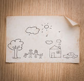 Hand draw lovely family Stock Images