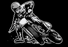 Hand draw of man riding a flat track motorcycle race. Vector of Hand draw of man riding a flat track motorcycle race Royalty Free Stock Photo