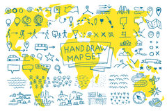 Hand draw map set elements Royalty Free Stock Image