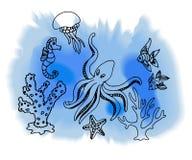 Hand draw marina creatures Stock Photography