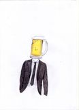 Hand draw men beer. Hand draw man with head like beer Royalty Free Stock Images