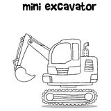 Hand draw of mini excavator Royalty Free Stock Images