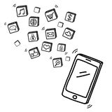 Hand draw mobile phone with social media Royalty Free Stock Photos