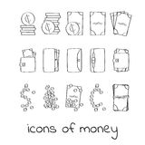Hand draw money icons. Collection of linear signs of dollars and cents. For web and app design Royalty Free Stock Images
