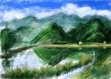 Hand draw mountain lake Stock Image
