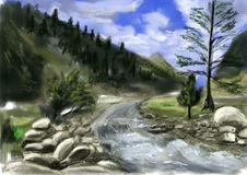 Hand draw mountain river Royalty Free Stock Photo