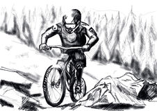 Hand draw mtb downhill Royalty Free Stock Photos