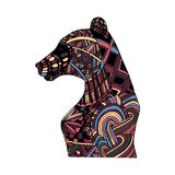 Hand draw multicolor bear painted in trendy colors Stock Photo