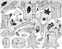 Hand Draw Nature Wood Logs Elements stock illustration
