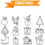 Hand draw object Christmas icons Stock Photography