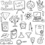 Hand draw object school doodles. Collection vector Royalty Free Stock Photos