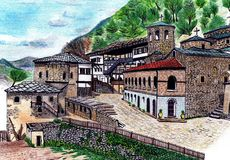 Hand draw old monastery. Hand drawing old monastery in Europe Stock Photos